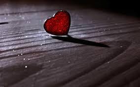 heart on wooden floor